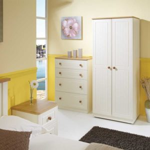 Bedroom setting with 2 door wardrobe , 4 drawer chest and bedside in cream with oak handles and tops - Sussex Beds