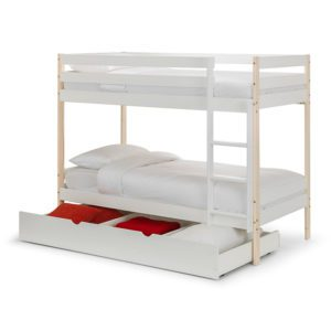 The single Winona Bunk Bed is a white bunk with natural pine posts that will look great in any bedroom. Complete with large underbed storage drawer - Sussex Beds